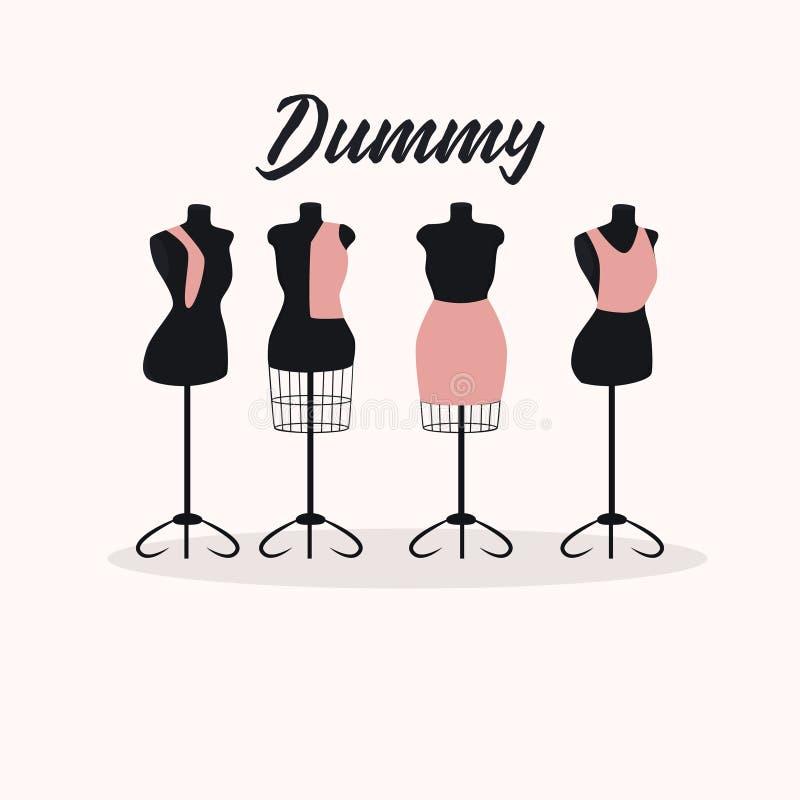Диаграмма больших манекенов комплекта винтажных женская ретро тип вектор иллюстрация штока