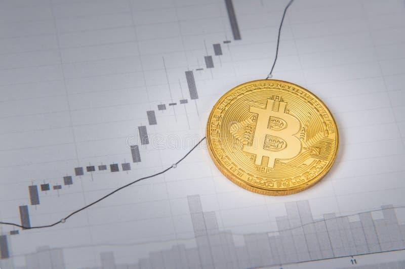 Диаграмма бумаги od bitcoin золота стоковые изображения
