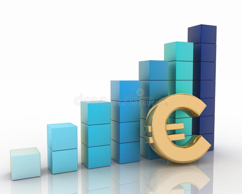Диаграмма высоты и знак евро иллюстрация вектора