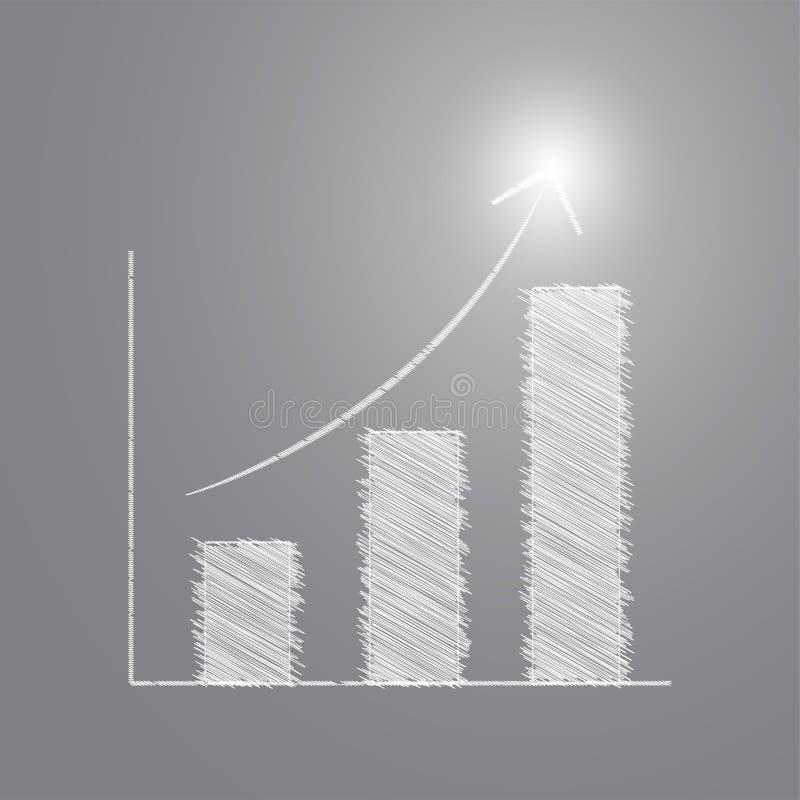 Диаграмма в виде вертикальных полос эскиза карандаша с успешным светом иллюстрация вектора