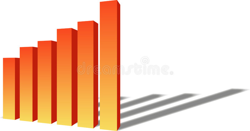 диаграмма в виде столбов 3d Стоковое Изображение RF