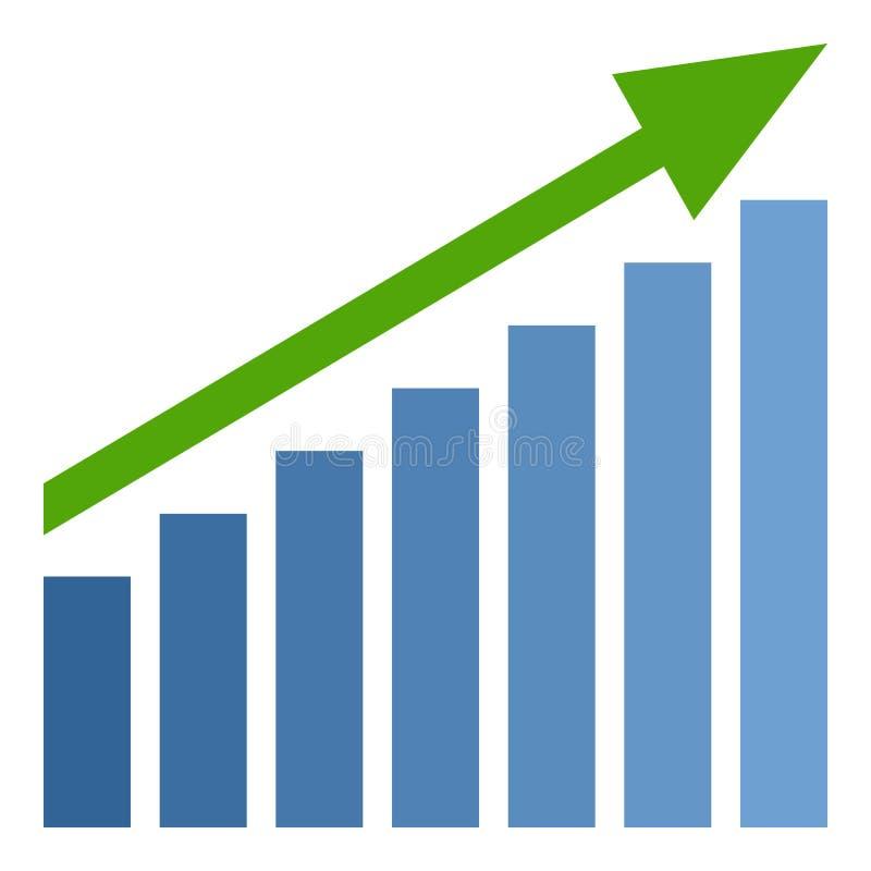 Диаграмма в виде вертикальных полос вверх по значку зеленой стрелки плоскому на белизне иллюстрация вектора