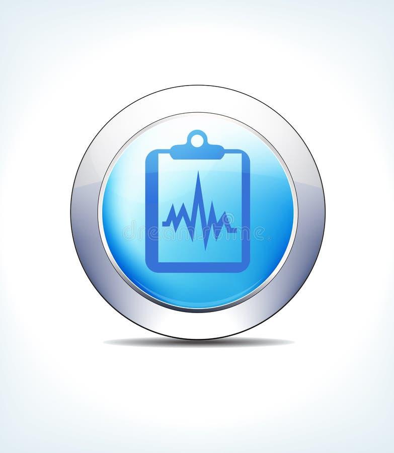 Диаграмма голубой кнопки значка терпеливая, показатели, доска сзажимом для бумаги, значки символов соединений глобуса сетей бесплатная иллюстрация