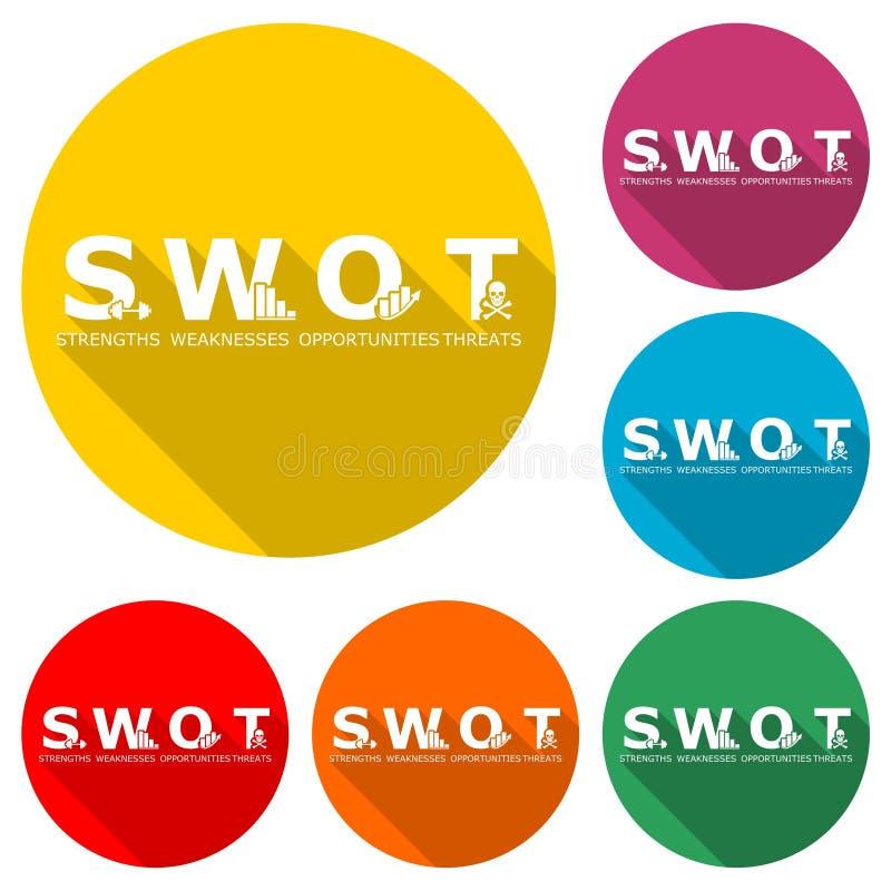 Диаграмма дела анализа SWOT, значок или логотип, набор цвета с длинной тенью иллюстрация штока