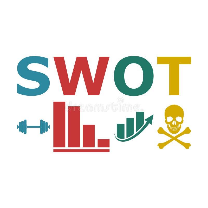 Диаграмма дела анализа SWOT иллюстрация вектора