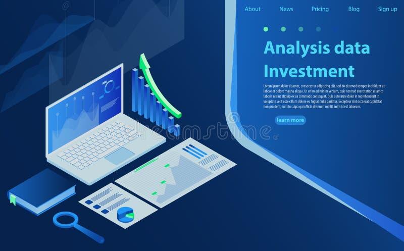 Диаграмма дела диаграммы финансов анализа финансовая Концепция анализа данных, информация ища, оптимизирование поисковой системы бесплатная иллюстрация