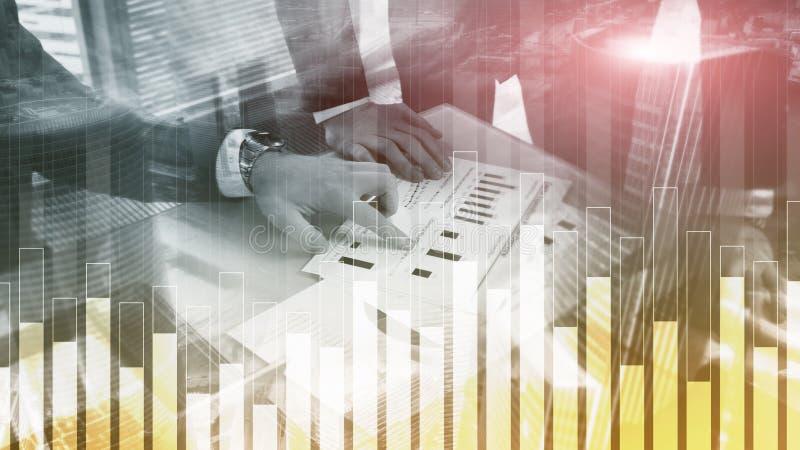 Диаграмма дела и финансов на запачканной предпосылке Концепция торговой операции, вклада и экономики бесплатная иллюстрация