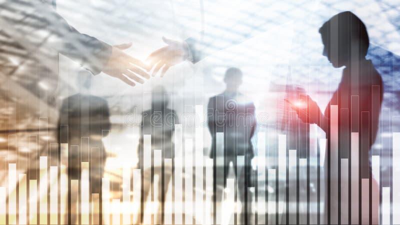 Диаграмма дела и финансов на запачканной предпосылке Концепция торговой операции, вклада и экономики Рукопожатие бизнесменов бесплатная иллюстрация