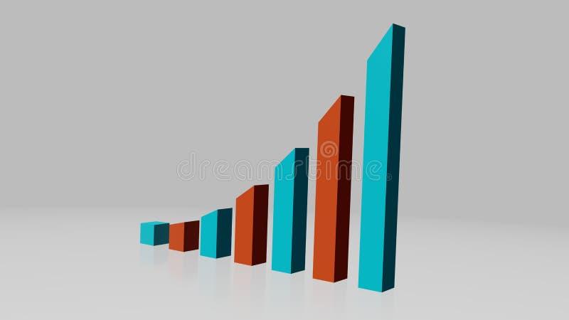 Диаграмма дела показывая возрастающаяа тенденция при красные и голубые бары, foreshortening от права иллюстрация вектора