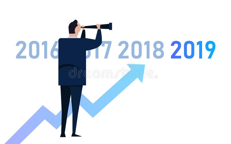 Диаграмма дела с стрелкой поднимающей вверх и символом 2019, концепцией успеха и иллюстрацией идеи роста зрение руководителя мене иллюстрация вектора