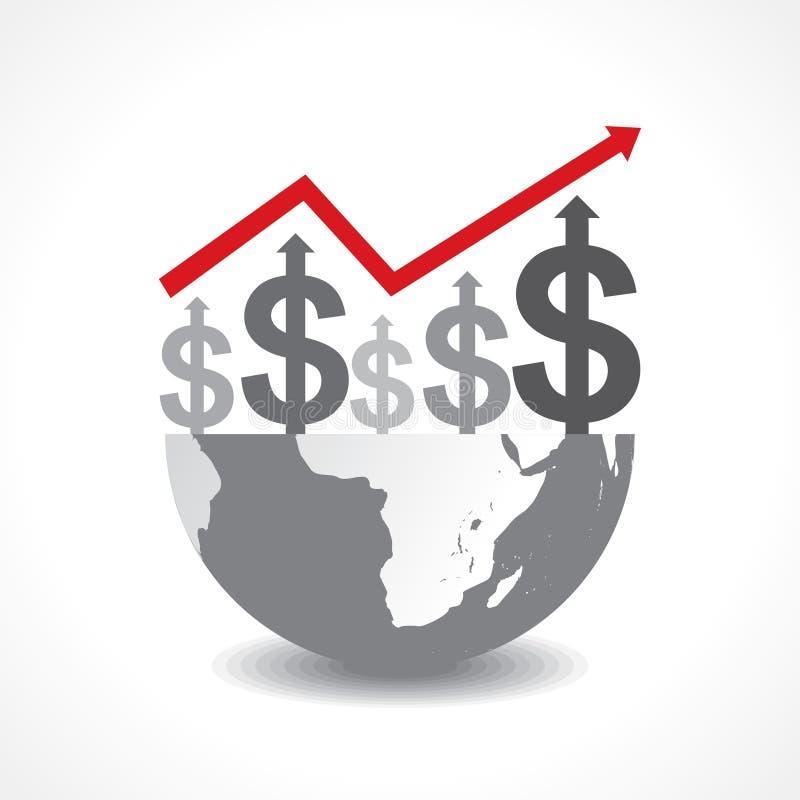 Диаграмма дела символов доллара на земле иллюстрация вектора