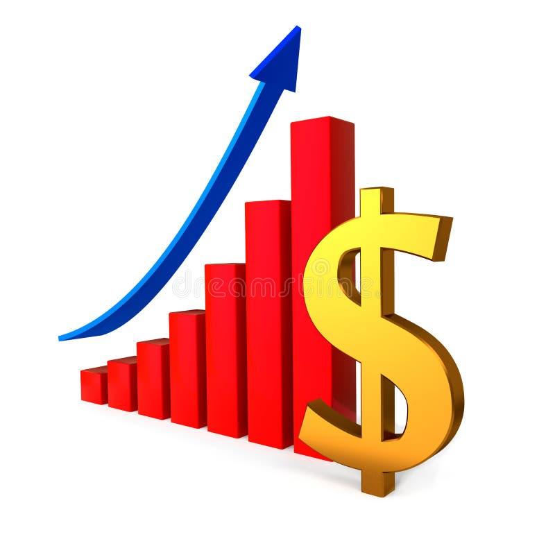 Диаграмма дела с знаком золотого доллара иллюстрация штока