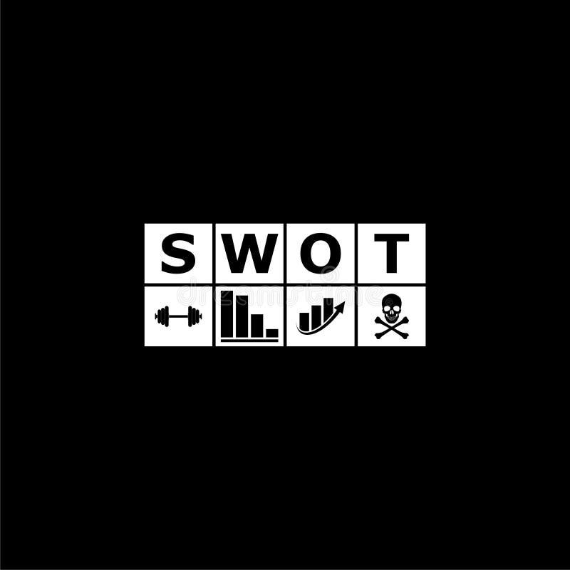 Диаграмма, значок или логотип дела анализа SWOT на темной предпосылке иллюстрация штока