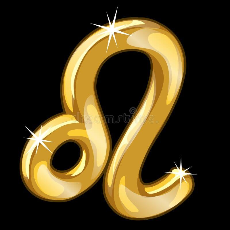 Диаграмма золота знака Лео зодиака на черной предпосылке иллюстрация вектора