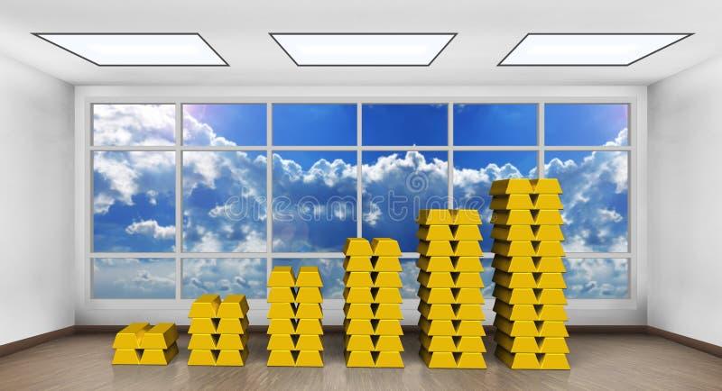 Диаграмма золотого ингота в современном офисе иллюстрация вектора