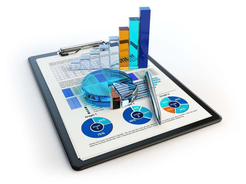 Диаграмма диаграммы дела финансовая на доске сзажимом для бумаги на белизне A иллюстрация штока
