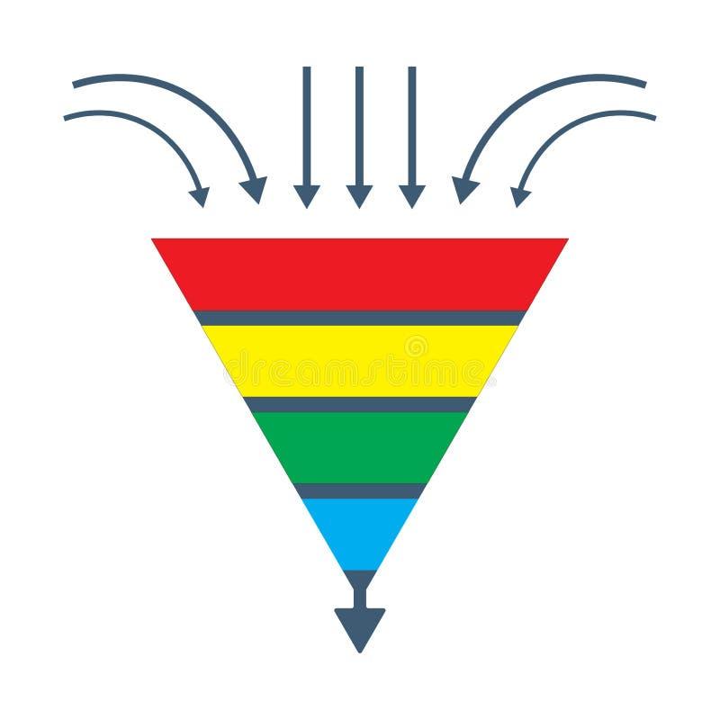 Диаграмма изолированная вектором: воронка руководства преобразования или график поколения продаж иллюстрация штока