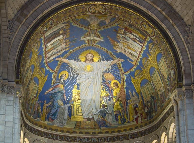 Диаграмма Иисуса Христа на стене базилики сердца Sacre Coeur священного, Парижа, Франции стоковое изображение