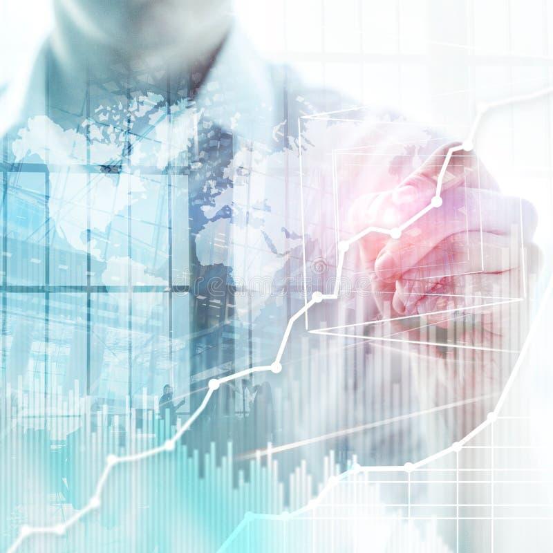 Диаграмма, диаграмма и диаграмма двойной экспозиции предпосылки дела абстрактные Всемирная карта и Глобальный бизнес и финансовая стоковое изображение rf