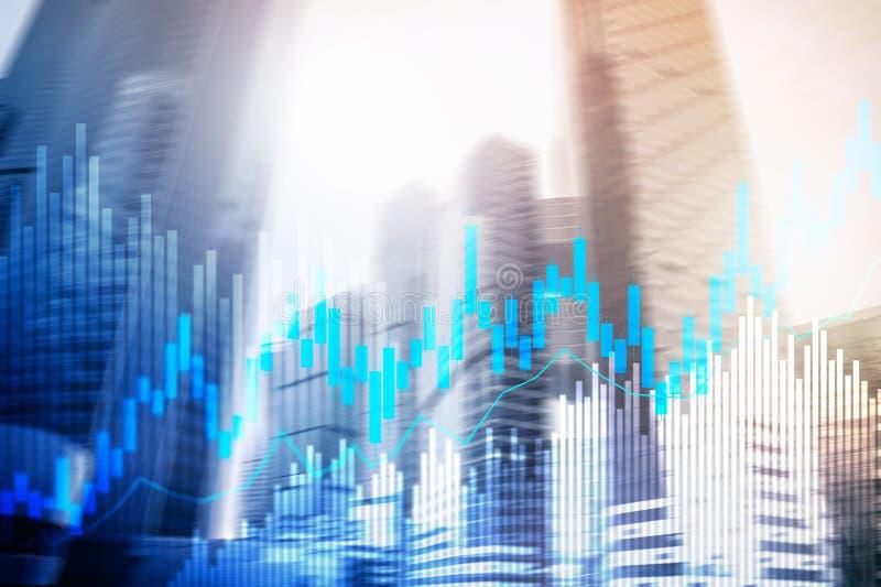 Диаграмма и диаграммы подсвечника торговли акциями на запачканной предпосылке офиса разбивочной иллюстрация вектора