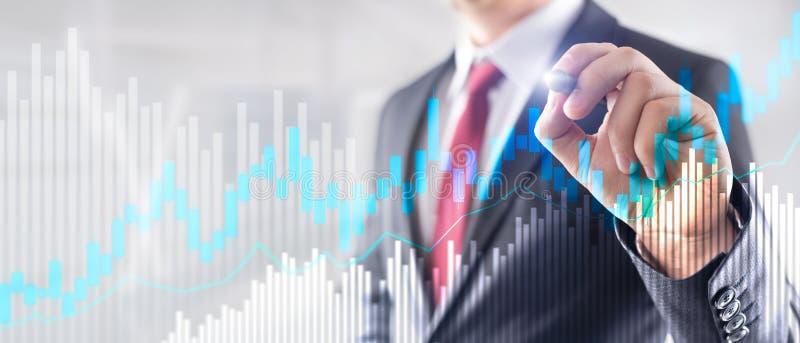 Диаграмма и диаграммы подсвечника торговли акциями на запачканной предпосылке офиса разбивочной иллюстрация штока