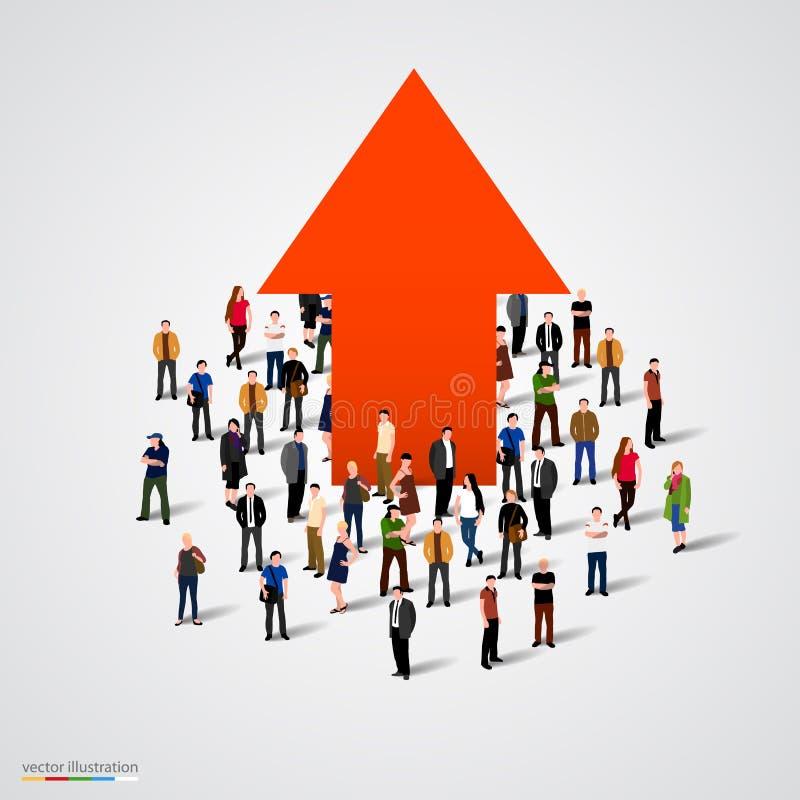 Диаграмма и прогресс роста в толпе людей бесплатная иллюстрация