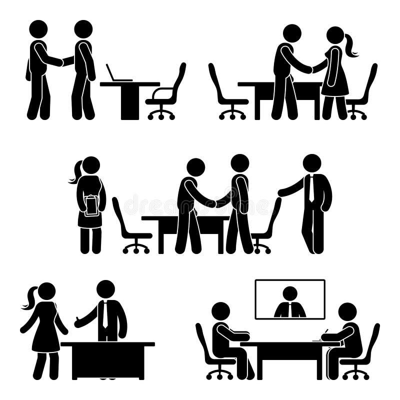 Диаграмма комплект ручки значка переговоров иллюстрация штока