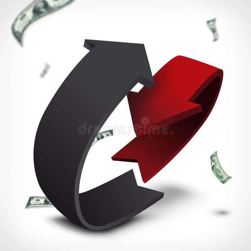 Диаграмма конспекта расхода дохода круглая стоковые изображения