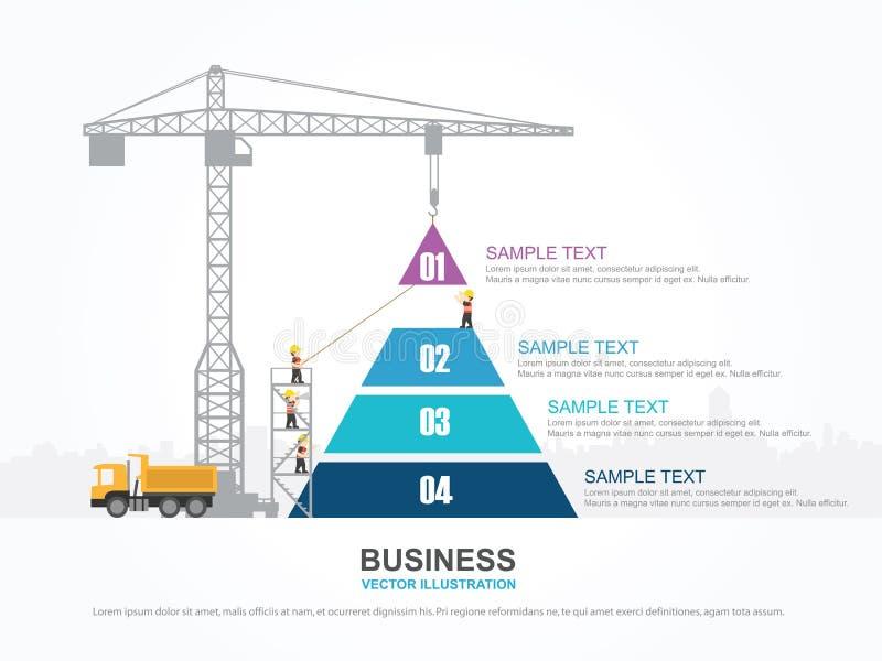 Диаграмма крана и пирамиды иллюстрация вектора