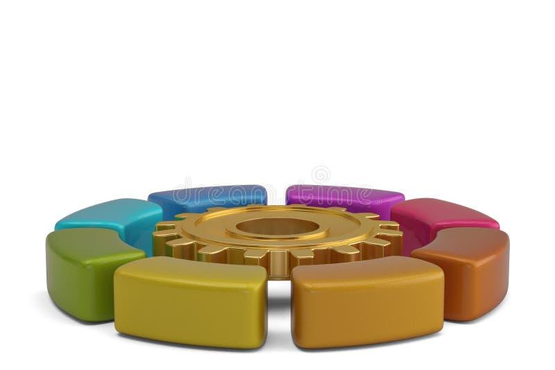 Диаграмма круга цвета вокруг шестерни золота иллюстрация 3d бесплатная иллюстрация
