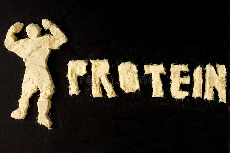 Диаграмма культуриста от сухого молока и протеина слова стоковая фотография rf