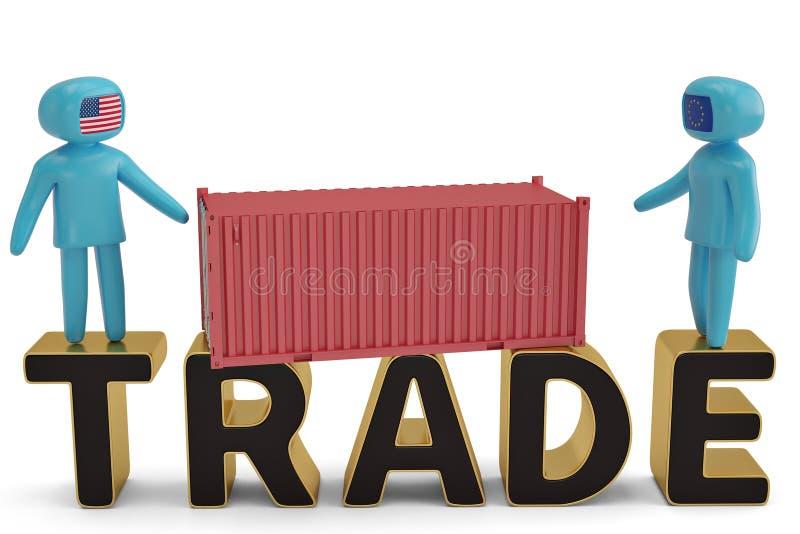 2 диаграмма люди на торговой иллюстрации письма и контейнера 3D иллюстрация вектора