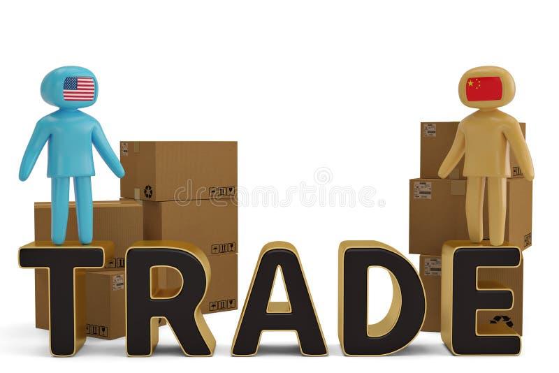 2 диаграмма люди на торговой иллюстрации письма и коробок 3D иллюстрация штока