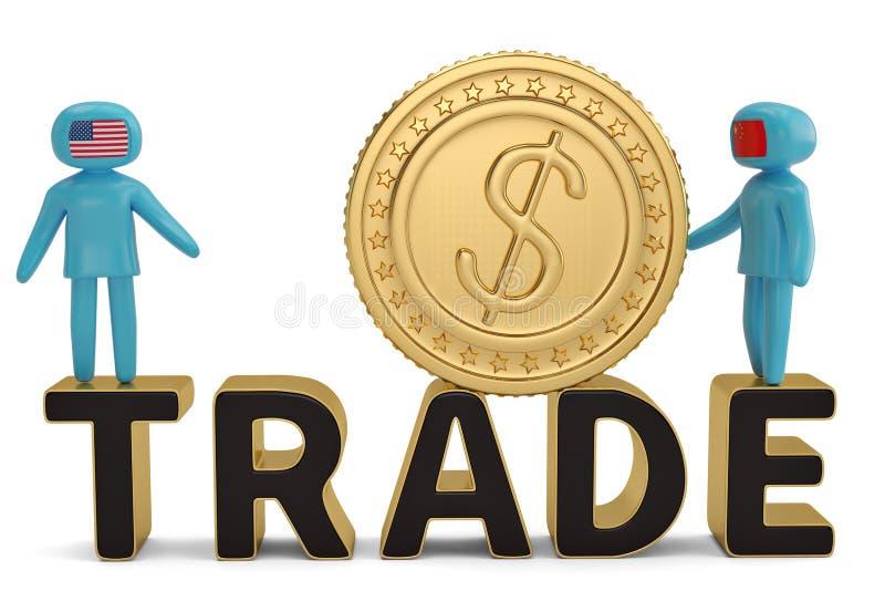 2 диаграмма люди на торговом слове и большом illustratio золотой монетки 3D иллюстрация штока