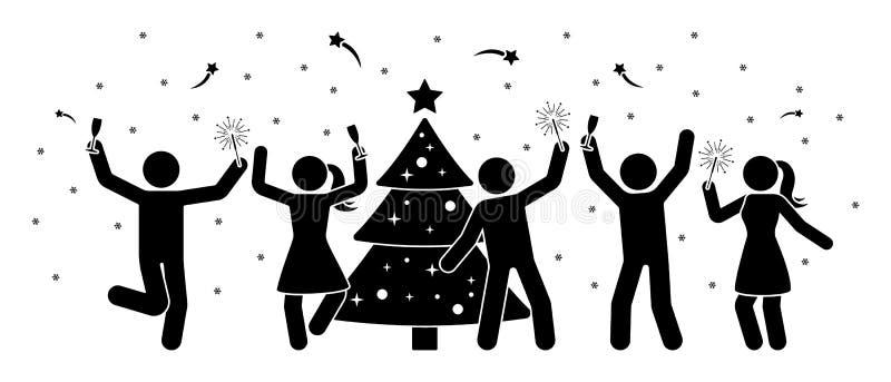 Диаграмма люди ручки на значке партии Нового Года Счастливые люди и женщины танцуя около пиктограммы дерева иллюстрация вектора