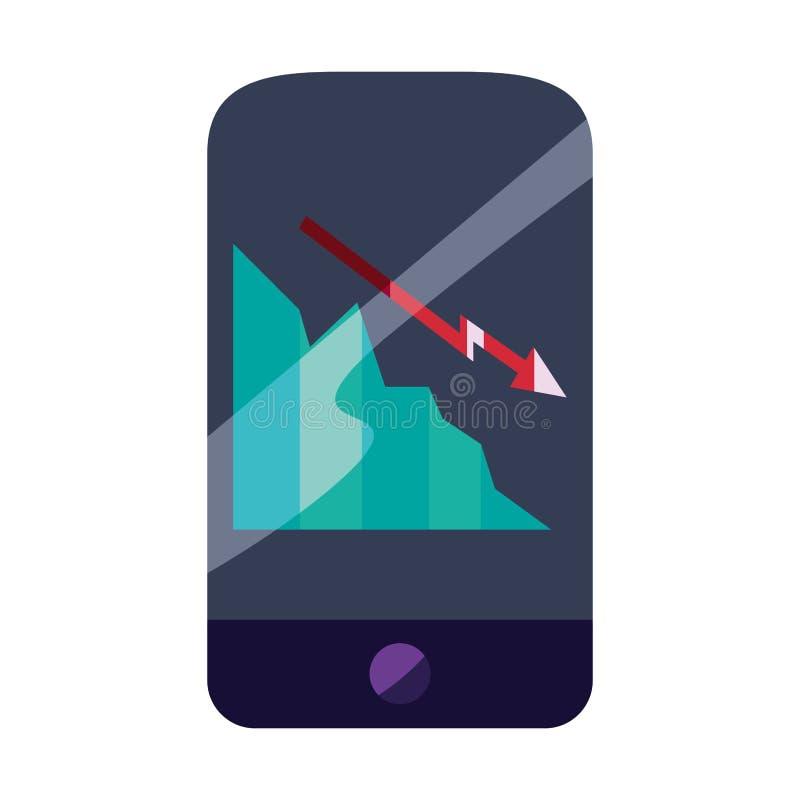 Диаграмма мобильного телефона финансовая бесплатная иллюстрация