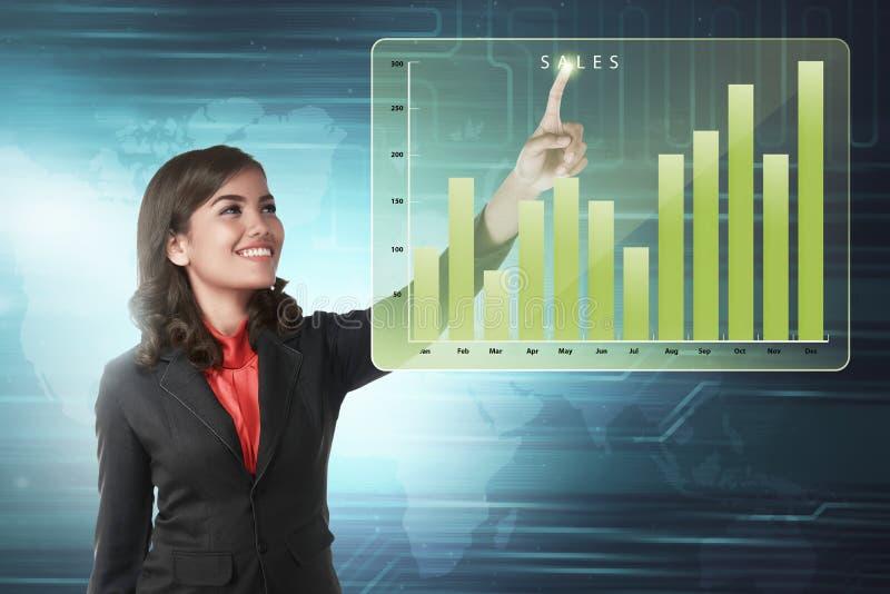 Диаграмма дохода продаж маркетинга азиатской бизнес-леди касающая стоковые изображения rf