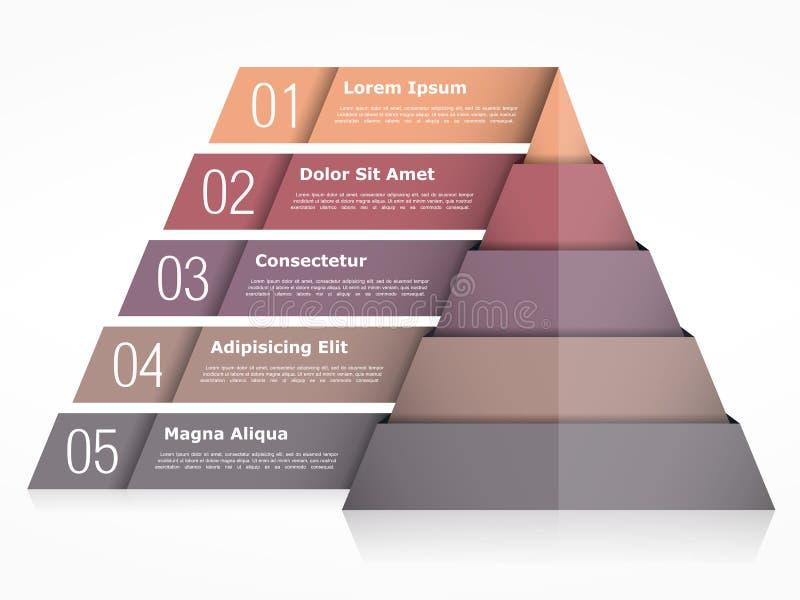 Диаграмма пирамиды с 5 элементами иллюстрация вектора