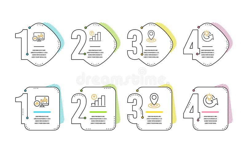 Диаграмма подсвечника, диаграмма диаграммы и значки положения набор Знак идеи доли r иллюстрация вектора