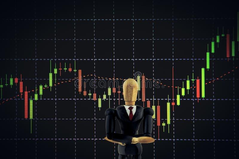 Диаграмма подсвечника с деревянной марионеткой, делом и финансовым жуликом стоковое фото