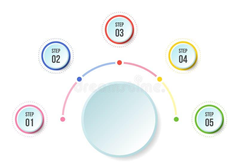 Диаграмма полкруга, шаблоны срока infographic иллюстрация вектора