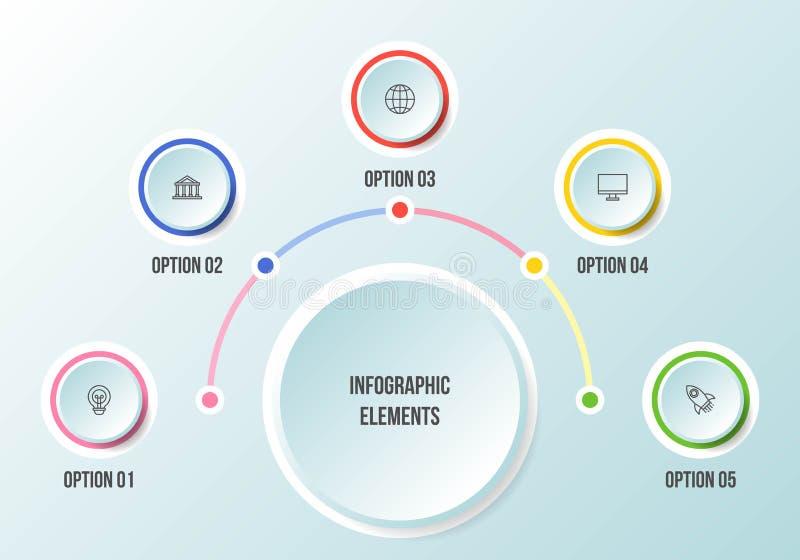 Диаграмма полкруга, шаблоны срока infographic иллюстрация штока