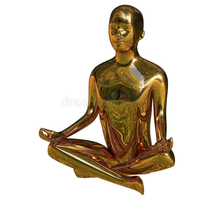 Диаграмма представление человека йоги стилизованная лотоса душевного спокойствия золотое бесплатная иллюстрация