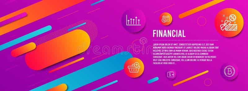 Диаграмма продажи, роста и бумажник доллара набор значков Скидки календаря, добавляют приобретение и знаки Bitcoin r иллюстрация штока