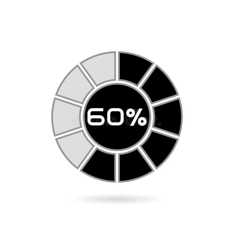 Диаграмма процента Круговая диаграмма 10 20 30 40 50 60 70 80 90 90 100 процентов Шаблон бизнес-инфографики иллюстрация вектора