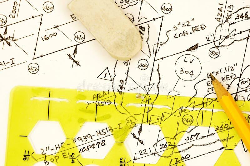 Диаграмма пускать по трубам и инструментирования стоковое фото rf