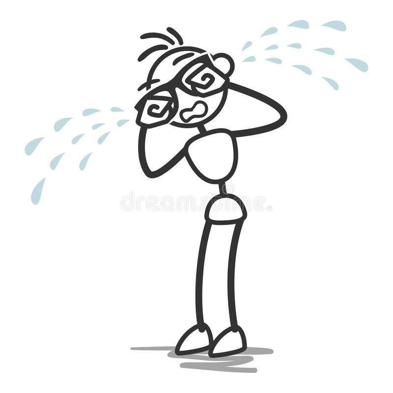 Диаграмма разрывы ручки человека ручки плача иллюстрация штока