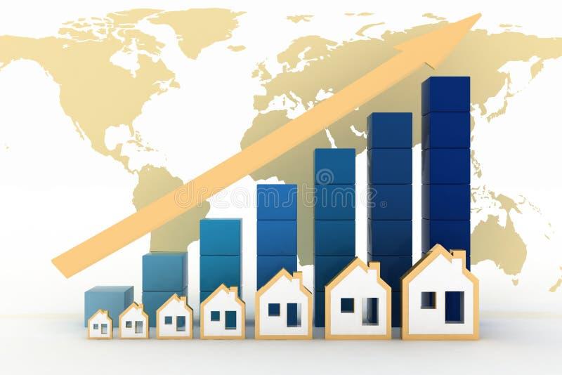 Диаграмма роста в ценах недвижимости в мире иллюстрация вектора
