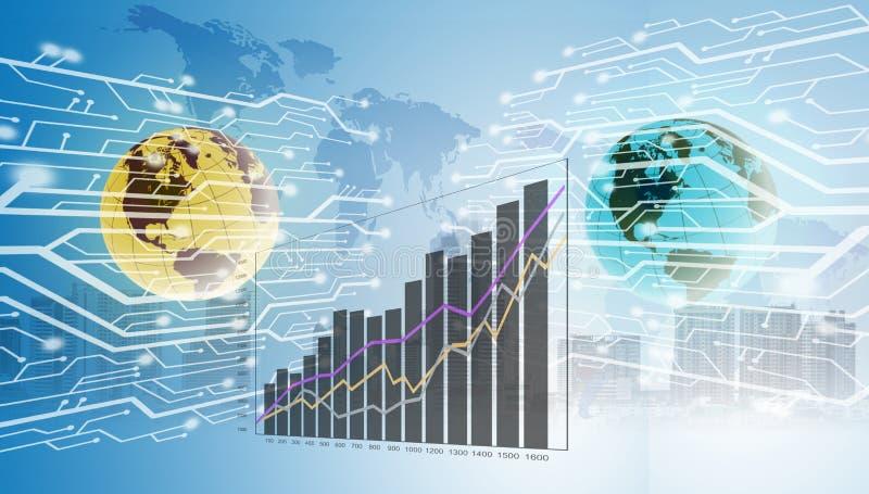Диаграмма роста цифровой технологии поднимает вверх стоковые изображения rf