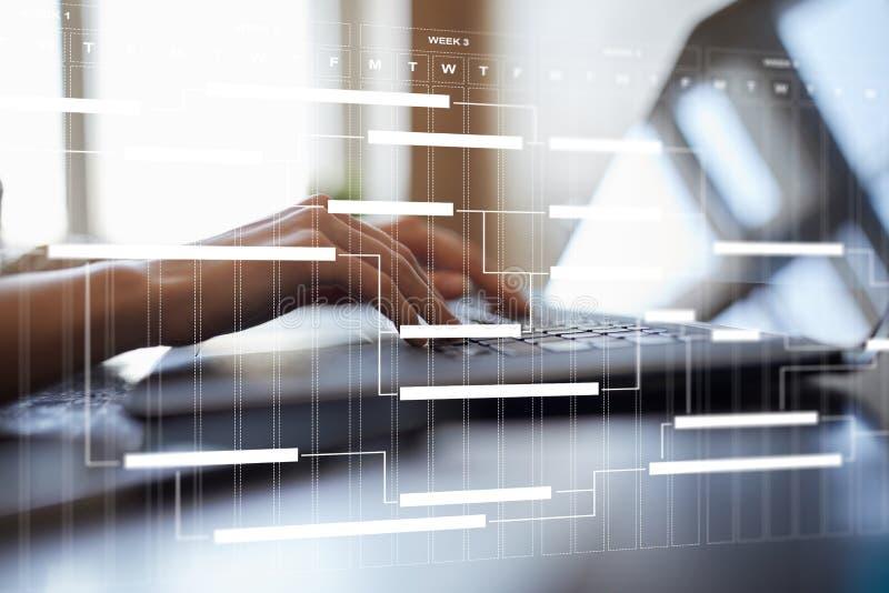 Диаграмма руководства проектом на виртуальном экране план-график Срок стоковые изображения